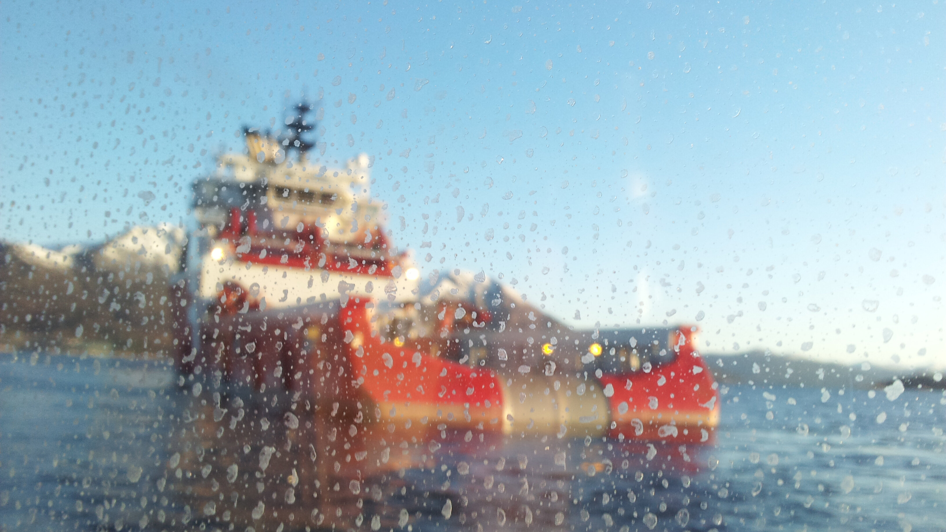 View of ship through wet window